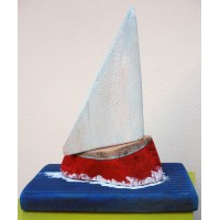sailboat,sculpture,red