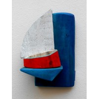 shelf for small objects,sailboat,blue