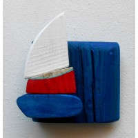 shelf,blue,sailboat,red