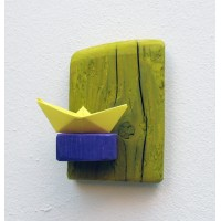 shelf, yellow green,purple,paper boat